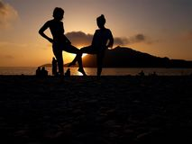 Sunset with friends Royalty Free Stock Image
