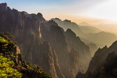 Sunset From The Cloud Dispelling Pavilion On Mt Huangsn, China Royalty Free Stock Photo
