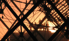 Sunset in Front of the Louvre, Paris Royalty Free Stock Photography