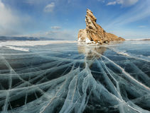 Sunset on the frozen Lake Baikal, Oltrek island Royalty Free Stock Photos