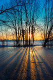 Sunset on frozen pond Stock Image
