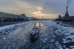 Sunset on the frozen river in city. Sunset on the frozen river in moscow city Royalty Free Stock Photography