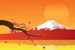 Sunset Fuji Mountain and Cherry Blossom Stock Photos