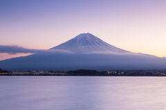 After sunset of Fuji mountain on Kawaguchi Lake stock images
