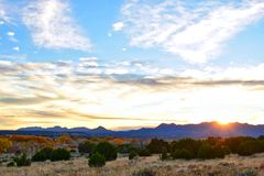 Sunset in Galisteo New Mexico. Colorful and sunset leaves in the fall in Galisteo New Mexico USA stock photography