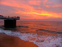Sunset at Galle Face beach, Sri Lanka royalty free stock photo