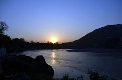 Sunset. Ganga river & Himalaya mountain. Rishikesh Royalty Free Stock Photography