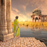 Sunset on the Ganges. Indian monument on the Ganges river in the sunset Royalty Free Stock Photos