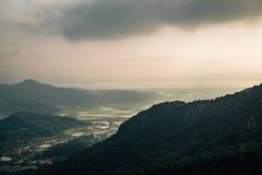 Sunset of Ganghwado Island mountains from Goryeosan mountain Jeokseoksa temple in Incheon, Korea