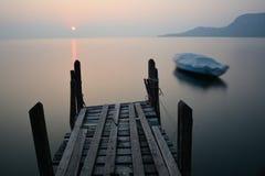 Sunset. In the Garda Lake stock photography