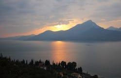 Sunset at garda lake Stock Photo