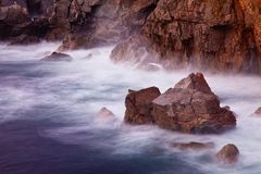 Sunset at Garrapata State Park, Big Sur, California on a cloudy day stock photos