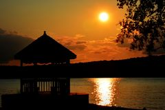 Sunset with Gazebo Stock Photos