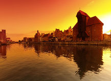 Sunset in Gdansk Royalty Free Stock Image