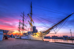 Sunset in Gdynia city at Baltic sea Royalty Free Stock Photos