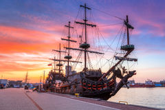 Sunset in Gdynia city at Baltic sea Stock Photography