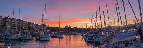 Sunset at the Genève-Quai Gustave Ador in Geneva Switzerland Stock Image