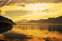 Sunset and Geneva lake, Montreaux, Switzerland Royalty Free Stock Photography