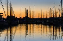 Sunset Genoa port Stock Photos