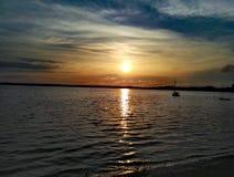 Sunset germany sky blue müritz Stock Photo