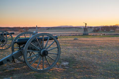 Sunset at Gettysburg National Battlefield. Cannons at Sunset on Gettysburg National Battlefield Royalty Free Stock Photo