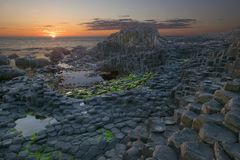 Sunset at Giant Causeway Stock Images