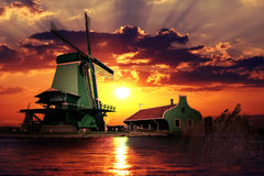 Sunset on the Giant of Netherlands Stock Photo