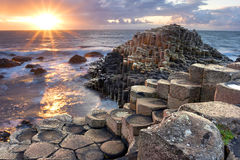 Sunset at Giant s causeway. In North Antrim, Northern Ireland royalty free stock photo