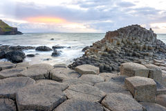 Sunset at Giant s causeway. In North Antrim, Northern Ireland royalty free stock image