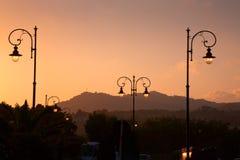 Sunset in Giardini Naxos, Sicily. Sunset in Giardini Naxos - seaside town in Sicily Royalty Free Stock Photo