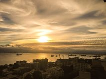 Sunset. Gibraltar seascape ships port Stock Images