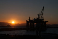 Sunset in Gibraltar. Showing a prospection platform over the sea Stock Photos