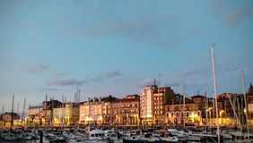 Sunset in Gijon, Spain Royalty Free Stock Photography
