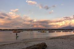Sunset at the Gili Trawangan Island royalty free stock images