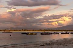 Sunset at the Gili Trawangan Islands stock photos