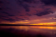 Sunset at Gippsland lakes. Sunset over King Lake - Gippsland Lakes as seen from Metung foreshore Stock Photo