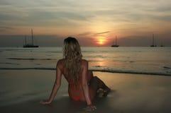 Sunset girl Royalty Free Stock Image