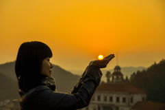 Sunset and Girl Royalty Free Stock Images