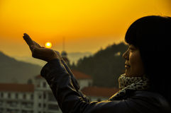 Sunset and Girl Stock Images