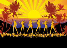 Sunset Girls Beach Party Flyer. Dancing girls at the beach, flyer or poster for your party or fest Stock Photo