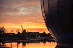 Sunset Glasgow Science Centre Scotland stock photo