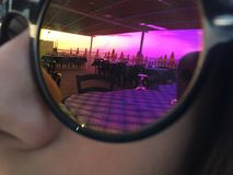 Sunset in a glasses stock image