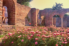 Sunset glimpse of the courtyard ruins of Domus della Fortuna Annonaria - Ostia Antica Royalty Free Stock Image