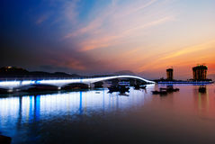 Sunset glow. China Hainan,shanya sunset silhouette and boats Stock Images