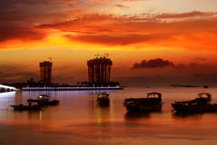 Sunset glow. China Hainan,shanya sunset silhouette and boats Royalty Free Stock Photo