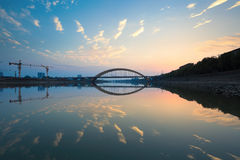 Sunset glow and bridge Stock Image