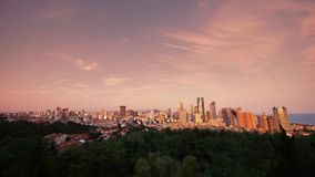 Sunset glow of china urban skyline,QingDao(tsingtao). stock footage
