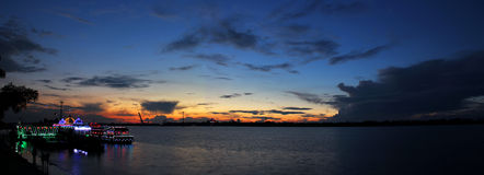 The sunset glow. In dark blue sky Stock Photography