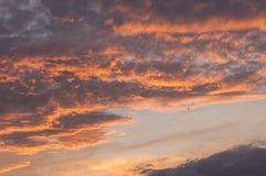 Sunset Glow Epic Clouds Closeup Stock Images