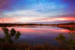 The sunset glow of Guowu lake_landscape Stock Images